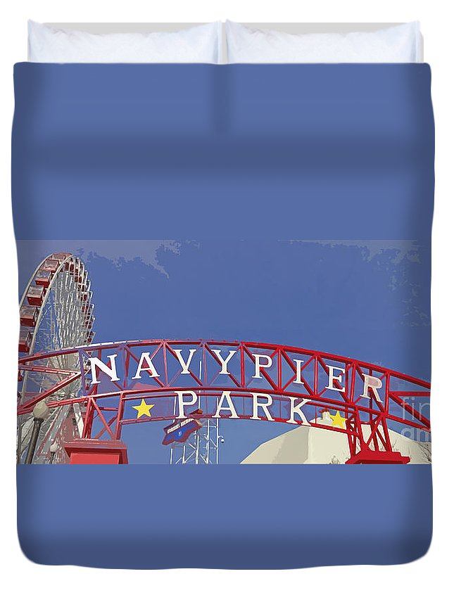 Navy Pier Duvet Cover featuring the photograph Navy Pier by Mary Machare