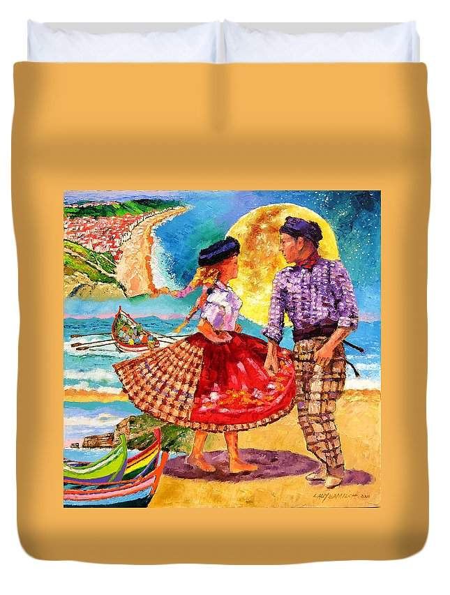 Dancers Duvet Cover featuring the painting Nazare Portugal by John Lautermilch