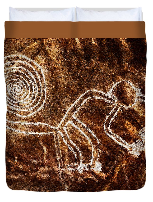 Nazca Monkey Duvet Cover featuring the painting Nazca Monkey by Weston Westmoreland