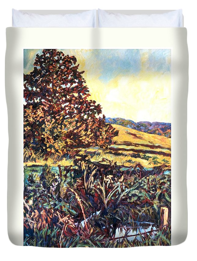 Landscape Duvet Cover featuring the painting Near Childress by Kendall Kessler