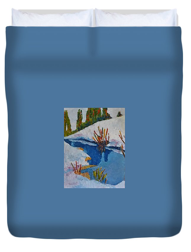 Inlet Duvet Cover featuring the painting Near The Lake by Susan Tormoen