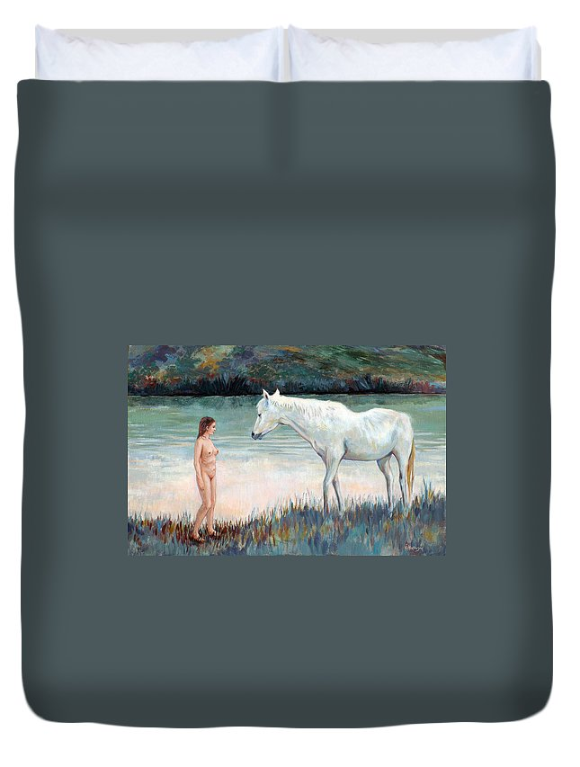 Horse Duvet Cover featuring the painting Near The Waterhole by Ekaterina Mortensen