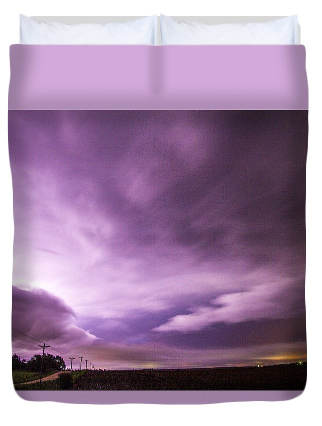 Nebraskasc Duvet Cover featuring the photograph Nebraska Night Thunderstorms 007 by NebraskaSC
