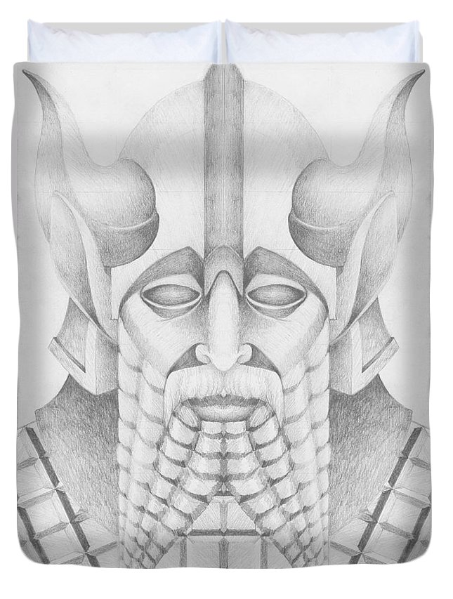 Babylonian Duvet Cover featuring the drawing Nebuchadezzar by Curtiss Shaffer