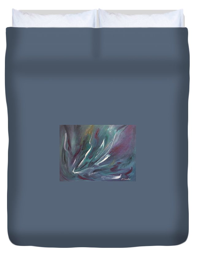 Acrylic Duvet Cover featuring the painting Nebula by Anita Burgermeister