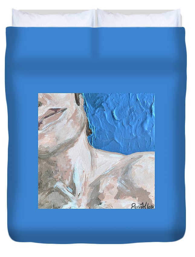 Man Duvet Cover featuring the painting Neck by Jennifer Klotz