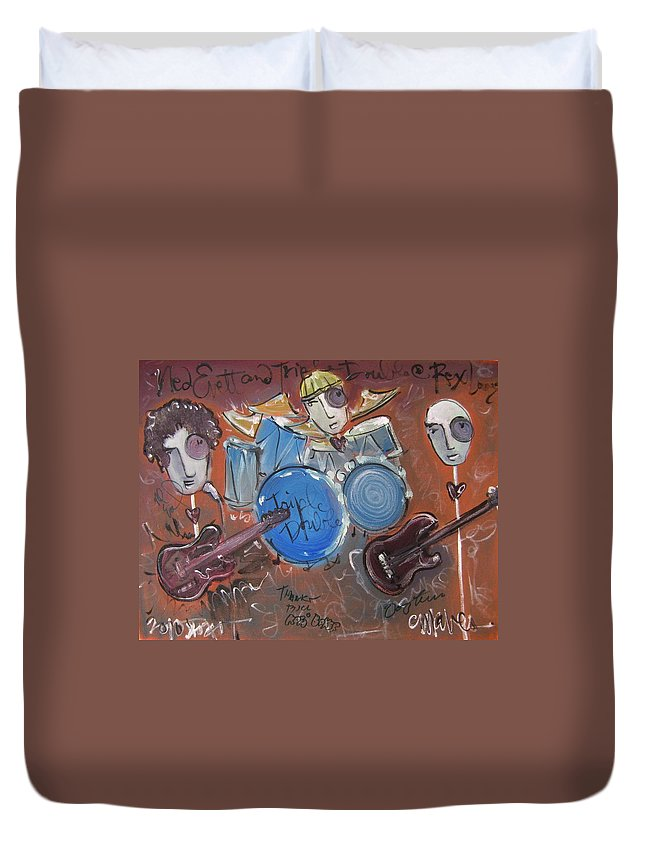 Ned Evett Duvet Cover featuring the painting Ned Evett And Triple Double by Laurie Maves ART