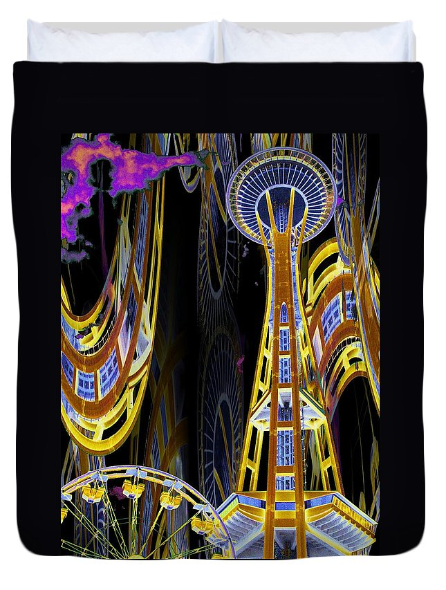 Seattle Duvet Cover featuring the digital art Needle And Ferris Wheel by Tim Allen