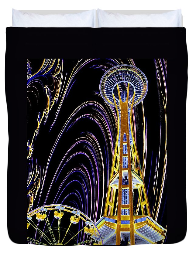 Seattle Duvet Cover featuring the photograph Needle And The Firefly by Tim Allen