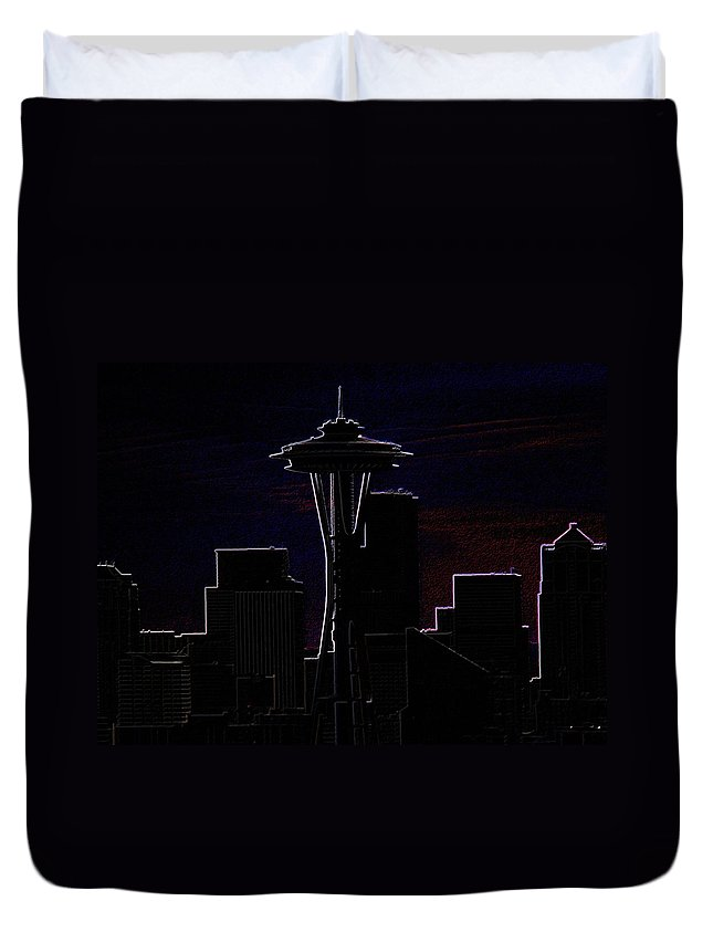 Seattle Duvet Cover featuring the photograph Needle From Kerry Park 2 by Tim Allen