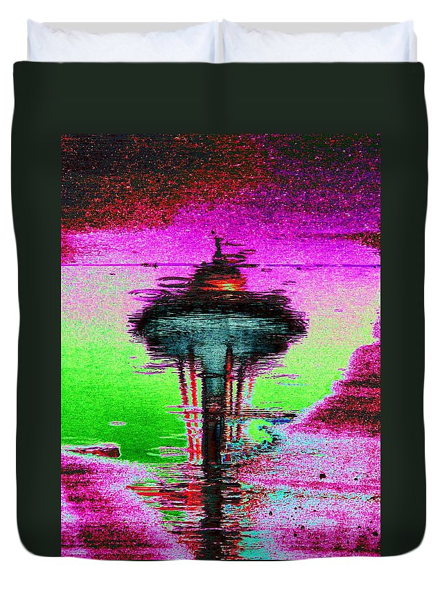 Seattle Duvet Cover featuring the digital art Needle In A Raindrop Stack by Tim Allen