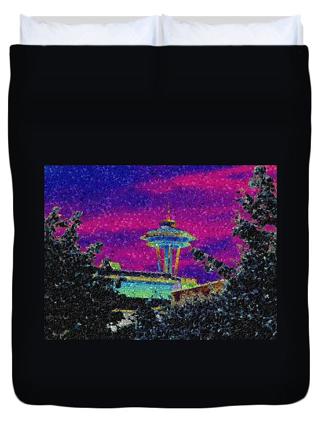 Seattle Duvet Cover featuring the photograph Needle In Mosaic 2 by Tim Allen