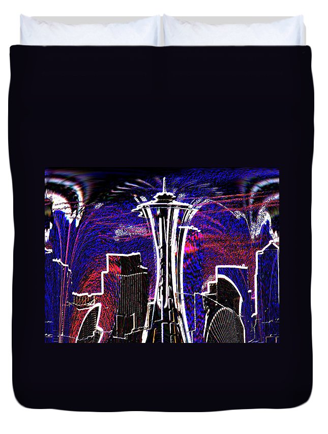 Seattle Duvet Cover featuring the photograph Needle In The City by Tim Allen