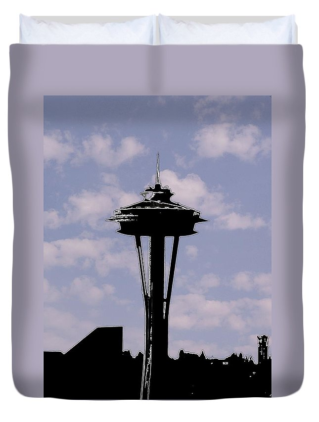 Seattle Duvet Cover featuring the digital art Needle In The Clouds by Tim Allen