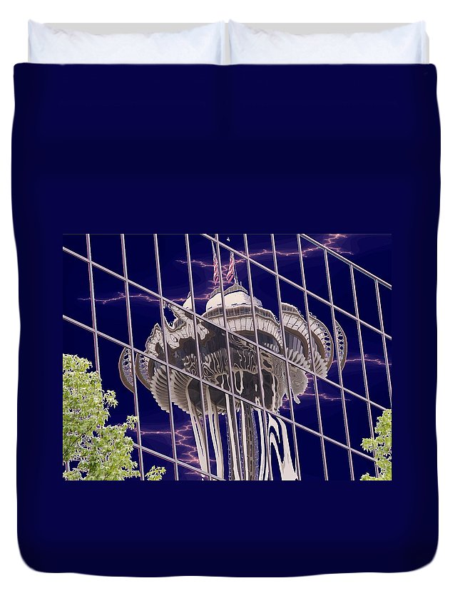 Seattle Duvet Cover featuring the digital art Needle Reflection by Tim Allen