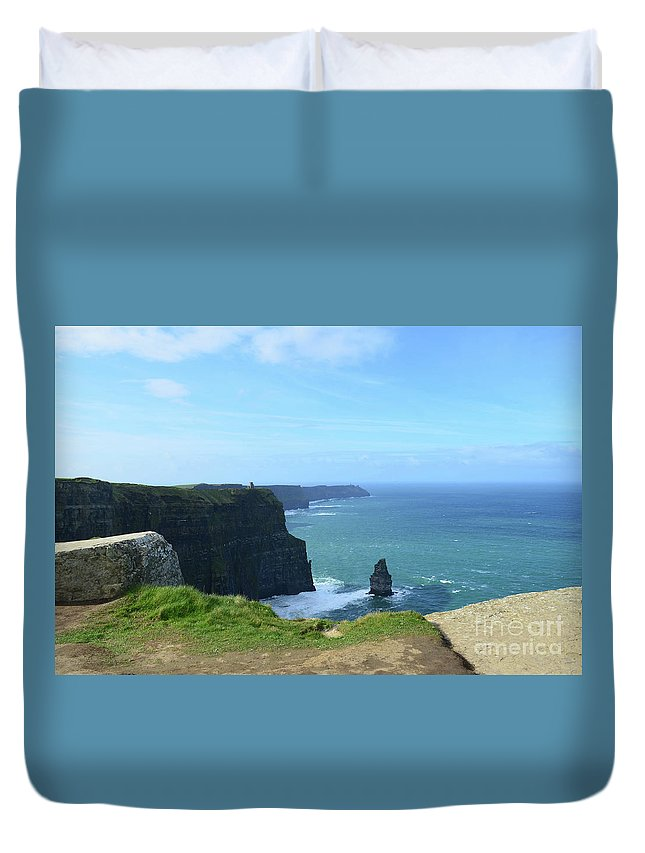 Needle Duvet Cover featuring the photograph Needle Rock Formation With Blue Skies On The Cliff's Of Moher by DejaVu Designs