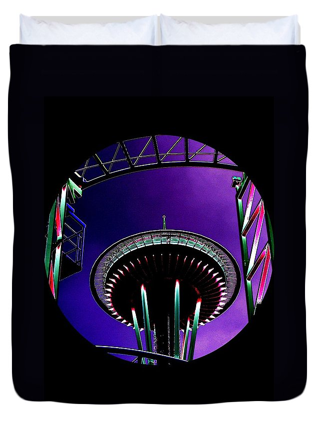 Seattle Duvet Cover featuring the digital art Needle Rollercoaster by Tim Allen