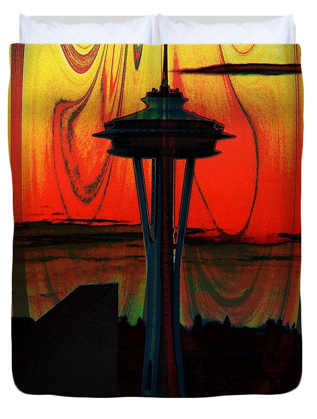Seattle Duvet Cover featuring the photograph Needle Silhouette 2 by Tim Allen