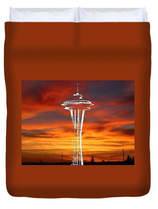 Seattle Duvet Cover featuring the digital art Needle Silhouette by Tim Allen