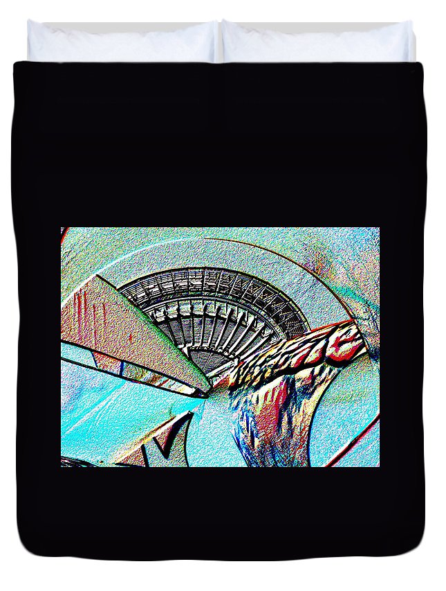 Seattle Duvet Cover featuring the digital art Needle Tubes by Tim Allen