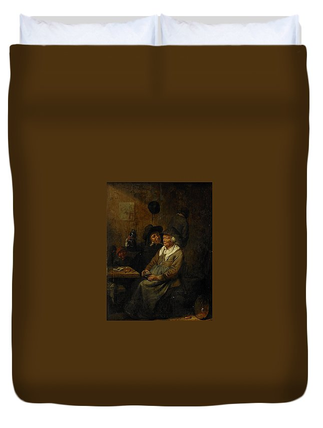 Joos Van Craesbeeck Neerlinter Interior Of A Tavern Duvet Cover featuring the painting Neerlinter Interior Of A Tavern by MotionAge Designs