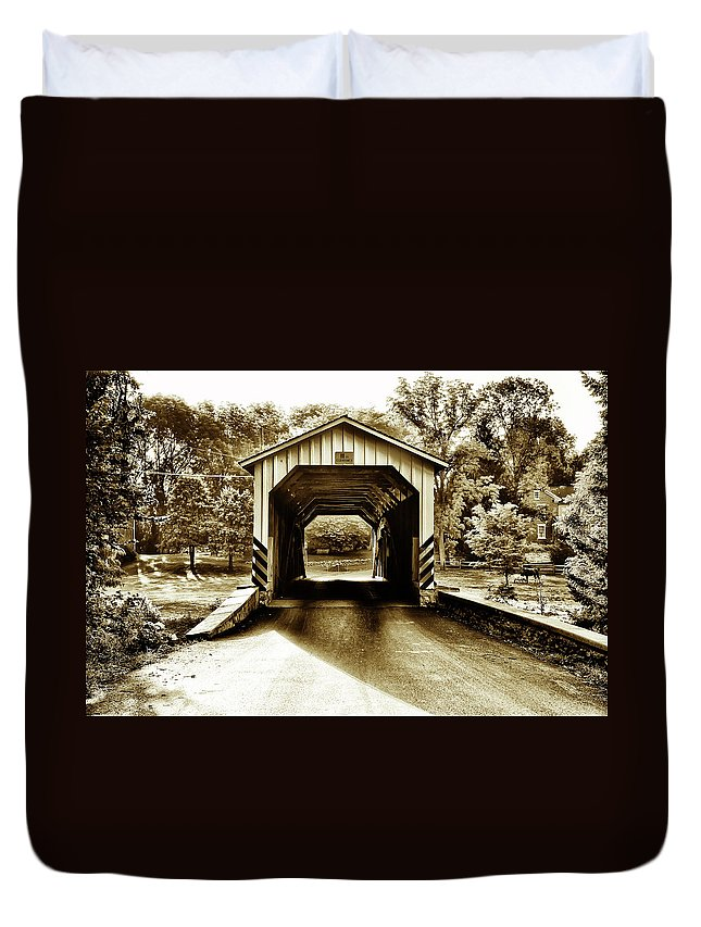 Neff's Duvet Cover featuring the photograph Neff's Mill Covered Bridge - Lancaster County Pa. by Bill Cannon