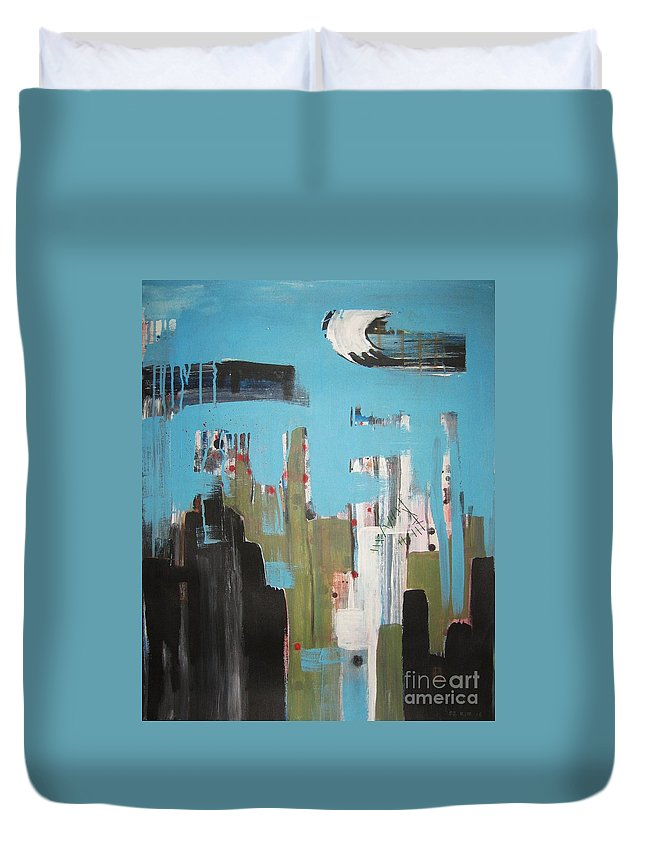 Abstract Paintings Duvet Cover featuring the painting Neglected Area by Seon-Jeong Kim