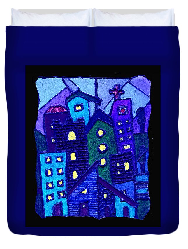 Urban Duvet Cover featuring the painting Neighborhood Blues by Wayne Potrafka