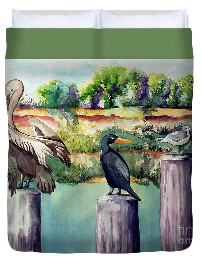 Birds Painting Duvet Cover featuring the painting Neighborhood Gossip by Kandyce Waltensperger