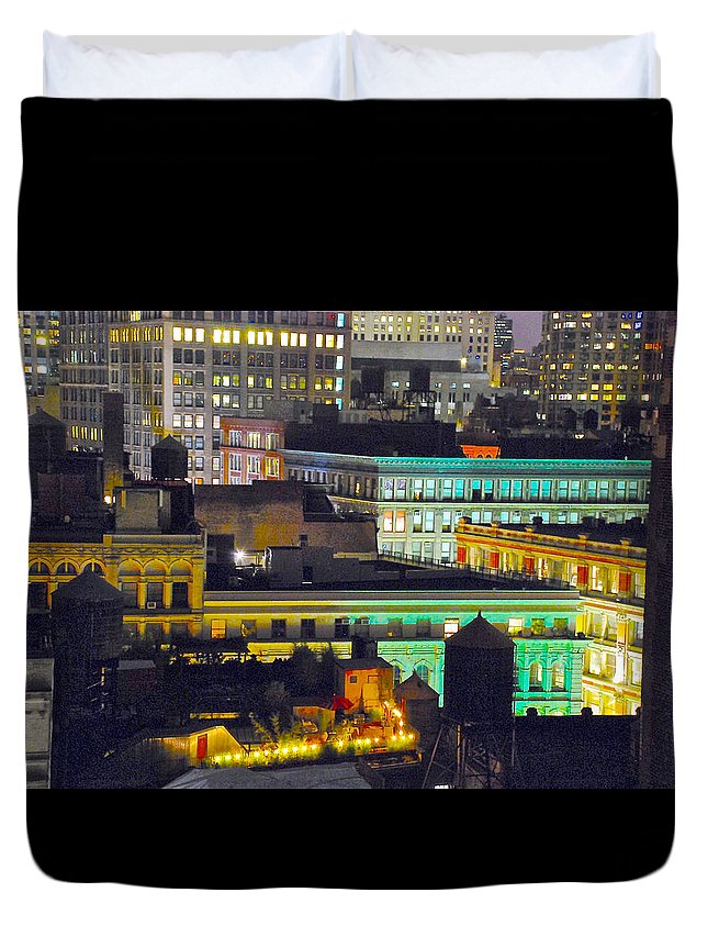 New York City Duvet Cover featuring the photograph Neighborhood Jazz by Eliza Sans Souci McNally