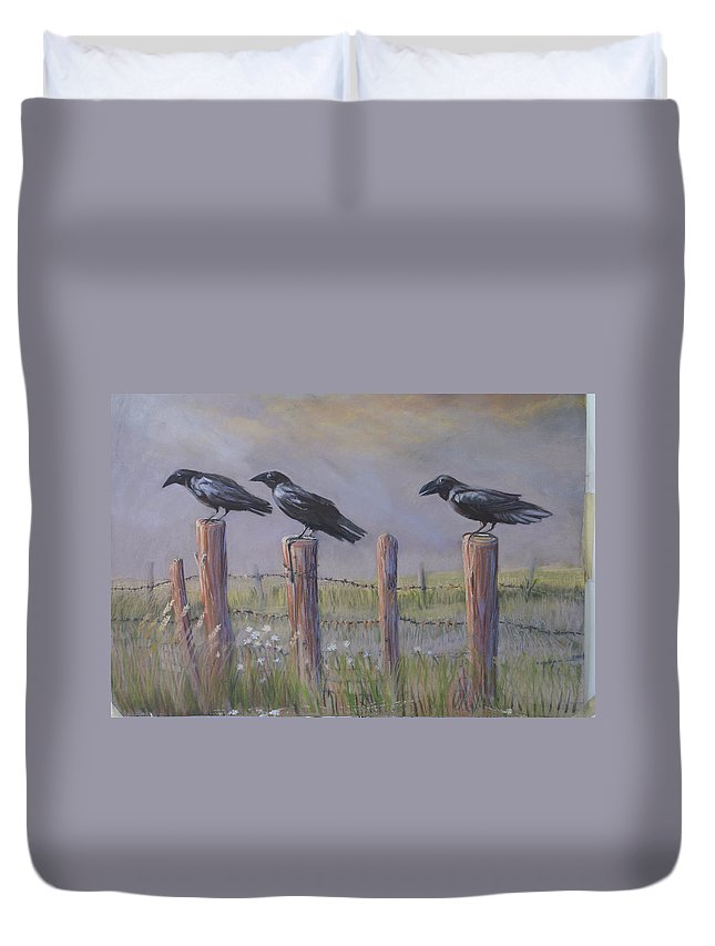 Crows Duvet Cover featuring the painting Neighborhood Watch by Heather Coen