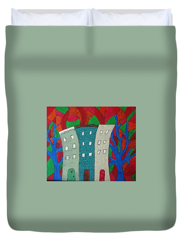 Houses Duvet Cover featuring the painting Neighbors by Wayne Potrafka