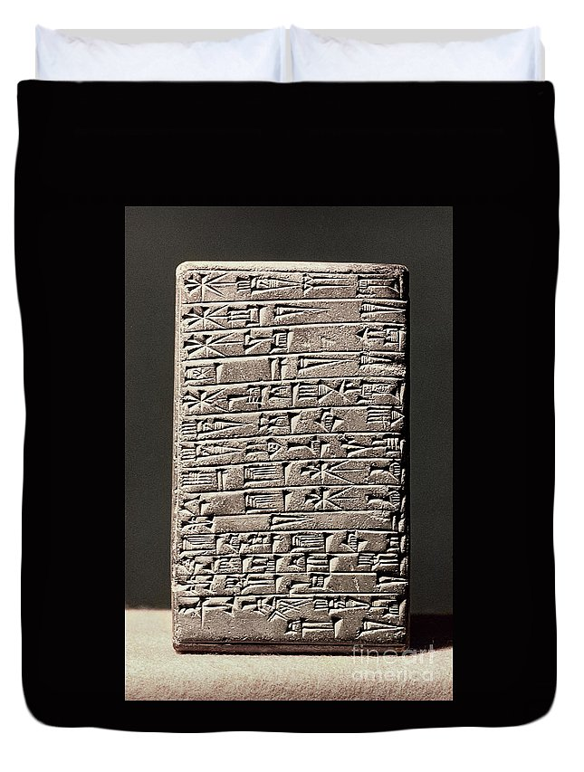 6th Century B.c. Duvet Cover featuring the photograph Neo-babylonian Clay Tablet by Granger