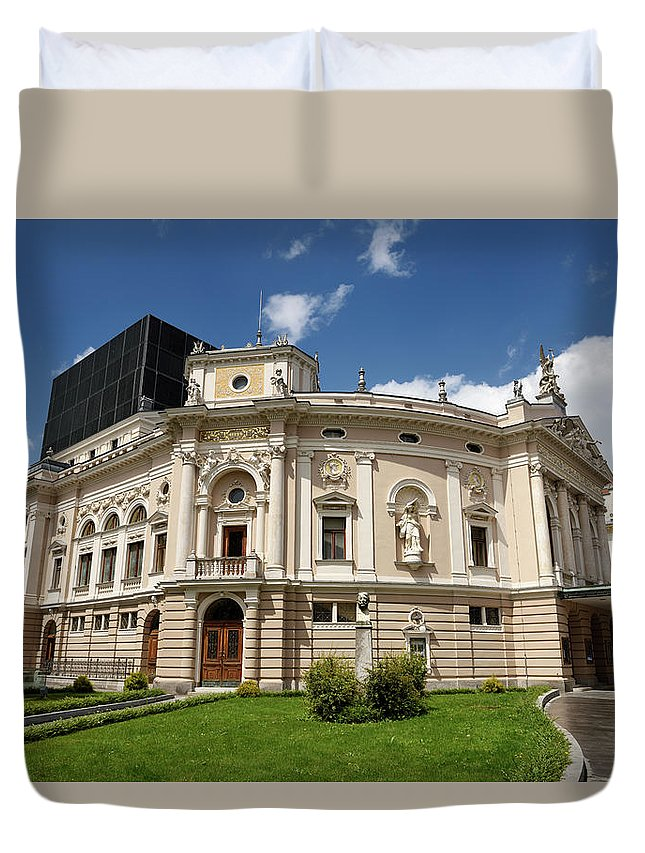 Neo Renaissance Duvet Cover featuring the photograph Neo Renaissance Architecture Of The Slovenian National Opera And by Reimar Gaertner