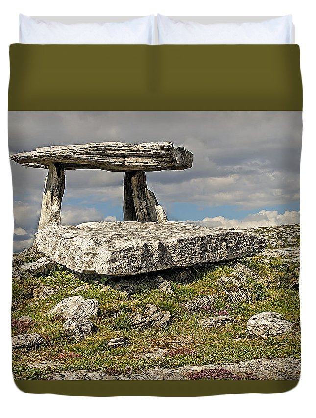 Rocks Duvet Cover featuring the photograph Neolithic Teleport - Portal Tomb In The Burren by Tony Crehan