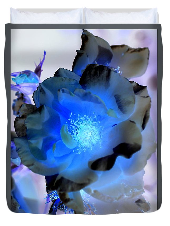 Inverted Colors Duvet Cover featuring the photograph Neon Blue by Carol Komassa