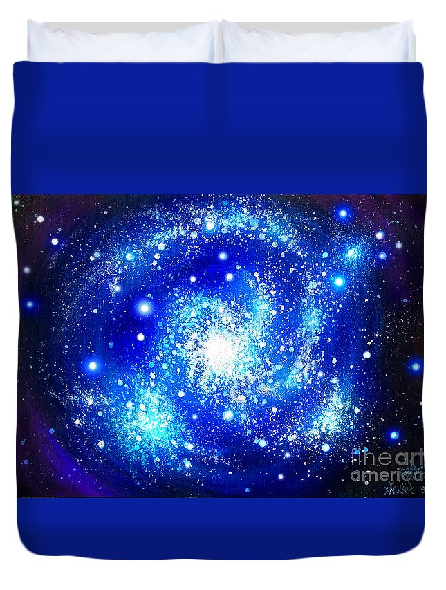 Blue Duvet Cover Featuring The Painting Neon Galaxy Bright Stars By Sofia Metal