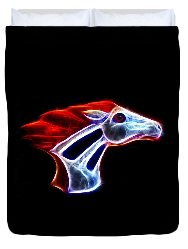 Bronco Duvet Cover featuring the photograph Neon Bronco by Shane Bechler
