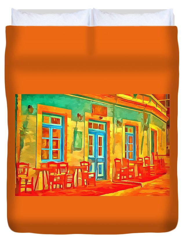 Cafe Duvet Cover featuring the painting neon Cafe by Harry Warrick