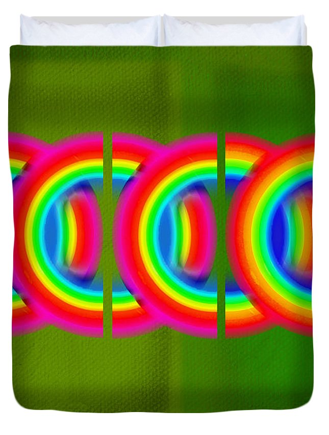 Abstract Duvet Cover featuring the painting Neon Chain by Charles Stuart