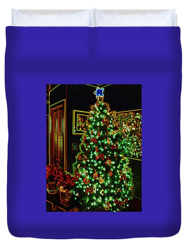 Christmas Duvet Cover featuring the photograph Neon Christmas Tree by Nancy Mueller