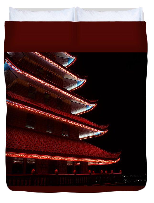 Pagoda Duvet Cover featuring the photograph Neon Nights by Megan Yohn