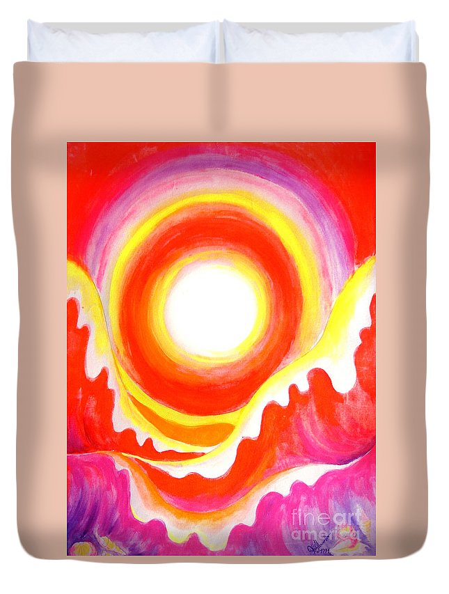 Neon Duvet Cover featuring the painting Neon Red Sky And Sea by Sofia Metal Queen