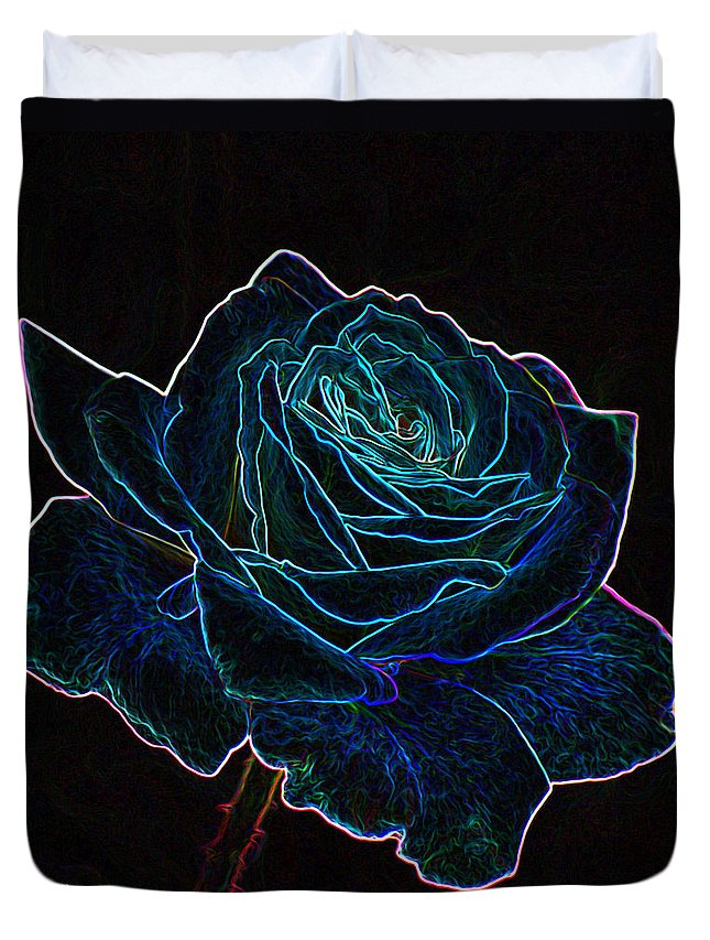 Flowers Duvet Cover featuring the mixed media Neon Rose 3 by Ernie Echols