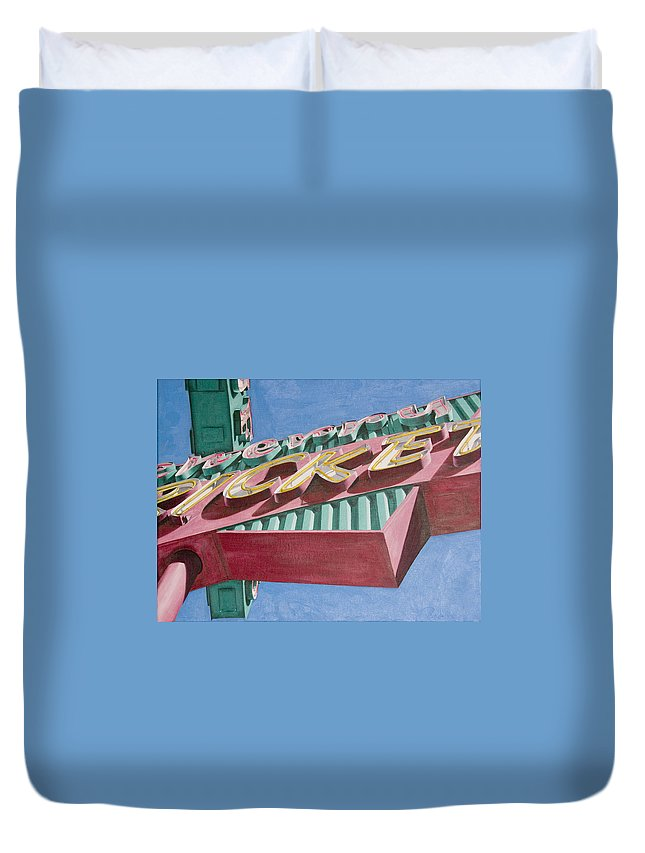 Oil Duvet Cover featuring the painting Neon Sign Cherry Cricket by Rob De Vries