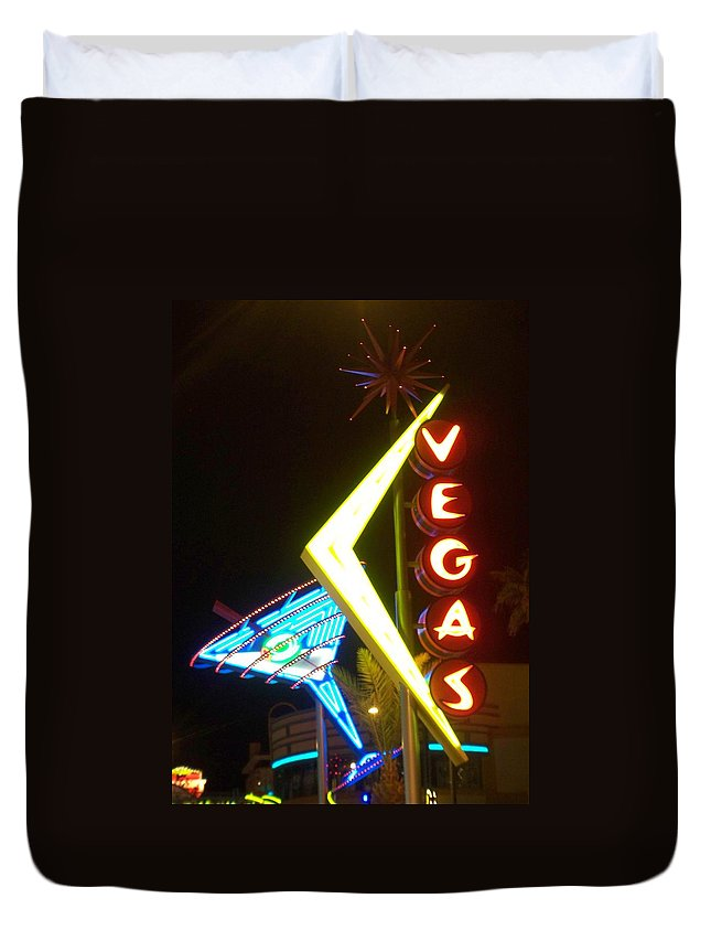 Fremont East Duvet Cover featuring the photograph Neon Signs 3 by Anita Burgermeister