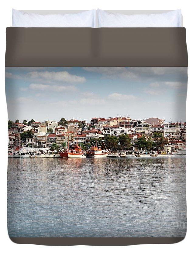 Neos Marmaras Duvet Cover featuring the photograph Neos Marmaras Greece Summer Vacation by Goce Risteski