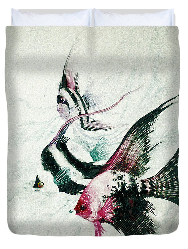 Fish Duvet Cover featuring the painting Neptunes Trio by Stephen Lucas