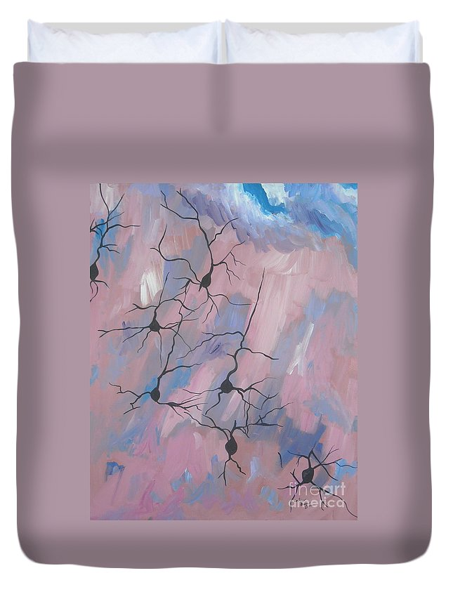 Nerve Duvet Cover featuring the painting Nerves by Caroline Davis
