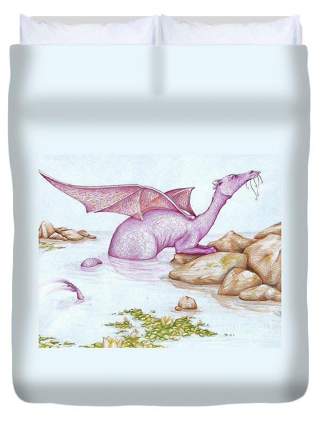 Dragon Duvet Cover featuring the drawing Nessy's Cousin by K M Pawelec